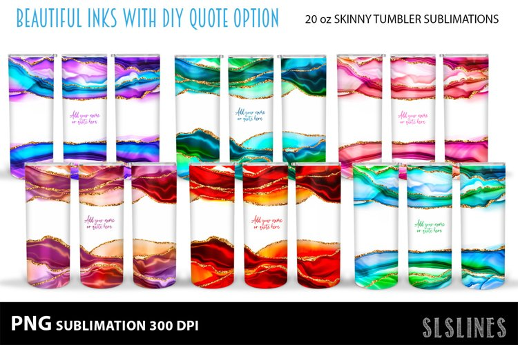 Skinny Tumbler Sublimation - Colorful Inks with Glitter PNG