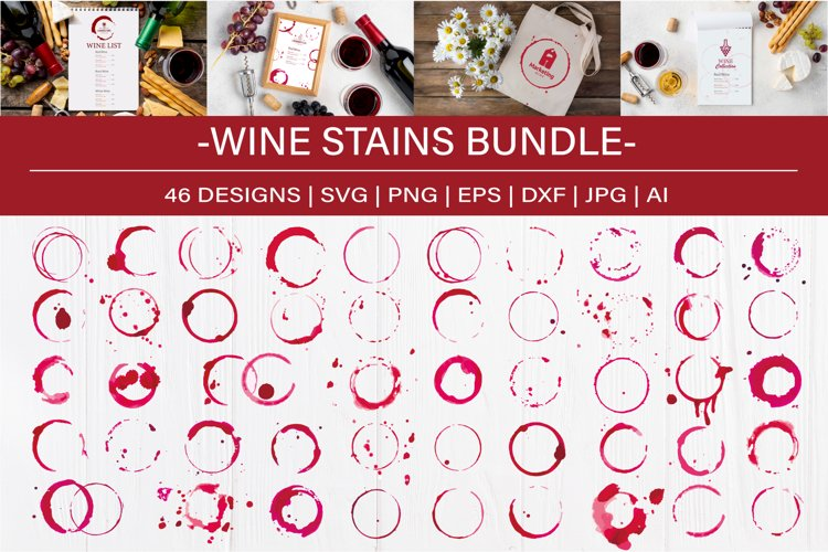 Watercolor Wine Stains, Rings and Splashes Clipart example image 1