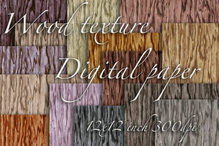Seamless wood grain texture digital paper example image 1