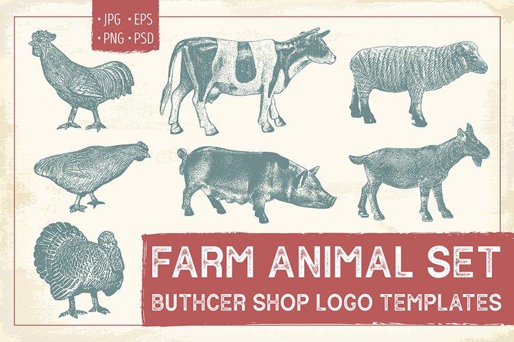 Farm Animal Logo Templates Set