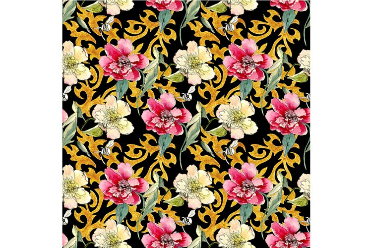Oriental pattern on a black background example image 1