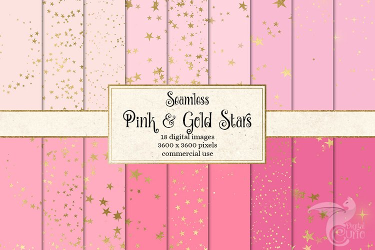 Pink and Gold Stars Digital Paper example image 1