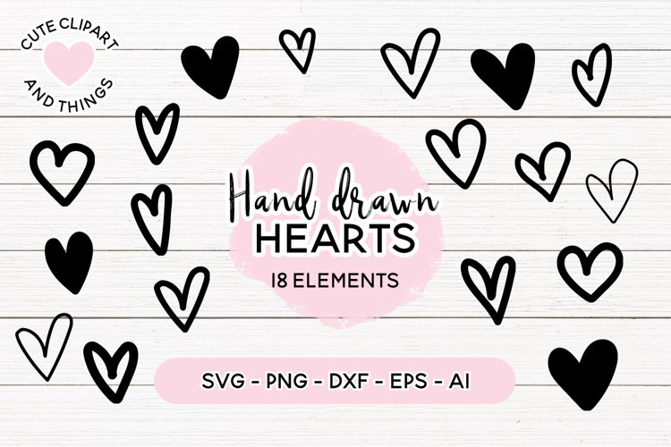 Heart SVG | Hand Drawn Hearts SVG Set | 18 Elements example image 1