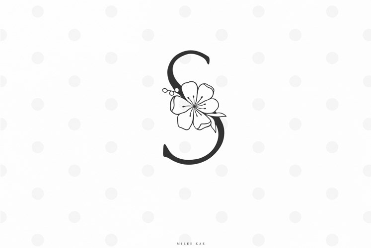 Floral letter svg cut file example image 1