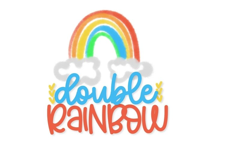 Web Font Double Rainbow - A Font Duo with Doodle Extras
