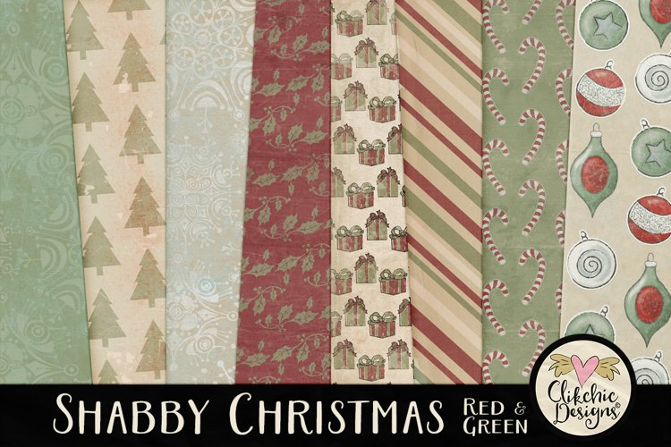 Christmas Scrapbook Papers - Shabby Christmas Backgrounds example image 1