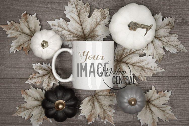 Fall Halloween Coffee Mug Glass Cup Mockup on Table, JPG example image 1