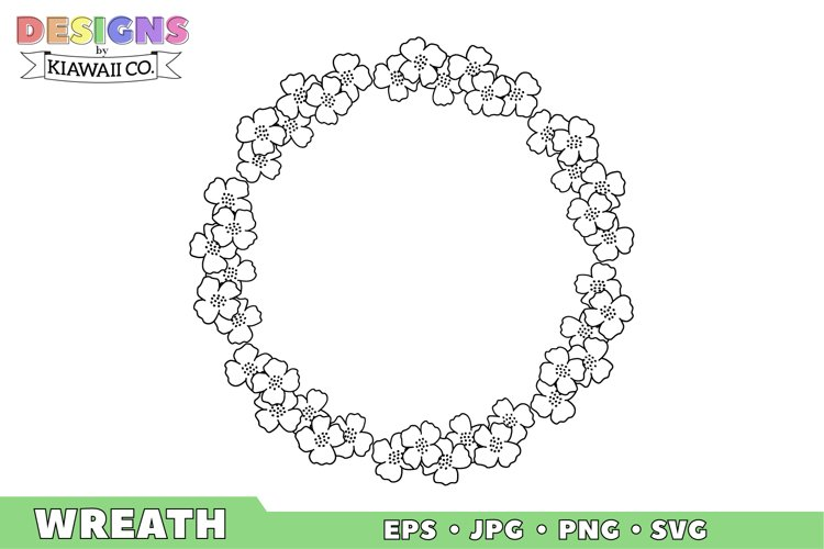 Flower Wreath 1 EPS, JPG, PNG, SVG example image 1