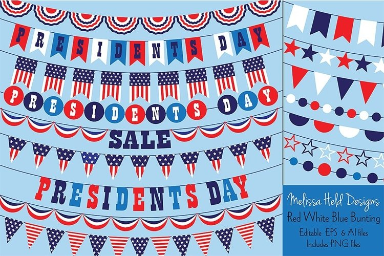 Presidents Day Bunting Clipart example image 1