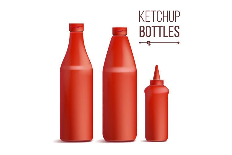 Tomato Ketchup Bottle Set Vector. 3D Realistic Blank. example image 1