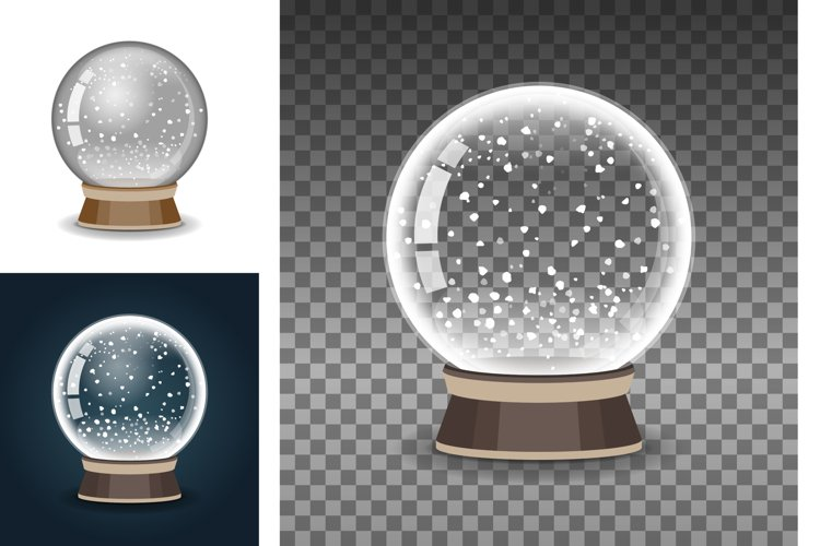 Snow globe, transparent ball sphere