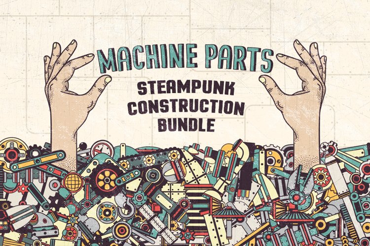 Steampunk machine parts bundle example image 1