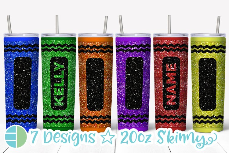 Skinny Tumbler Sublimation Design - Glitter Crayon Tumblers example image 1
