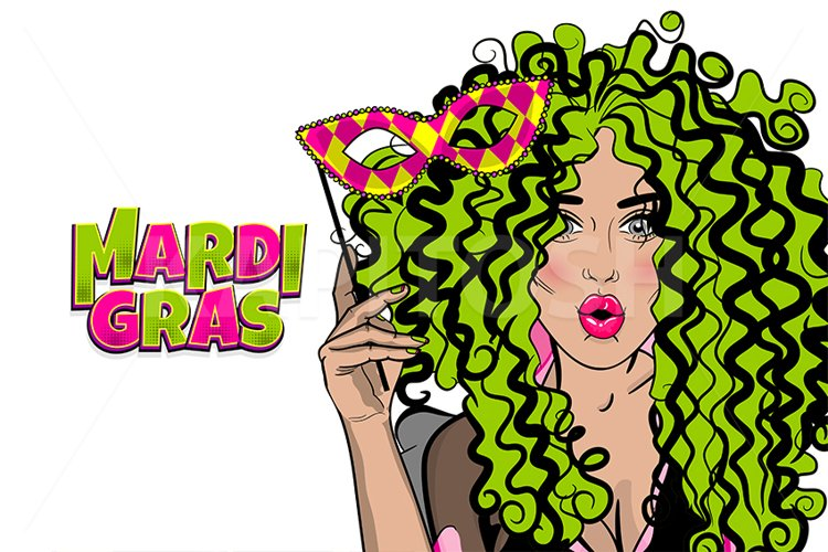 Pop art curly hair woman hold mask Mardi Gras wow face example image 1