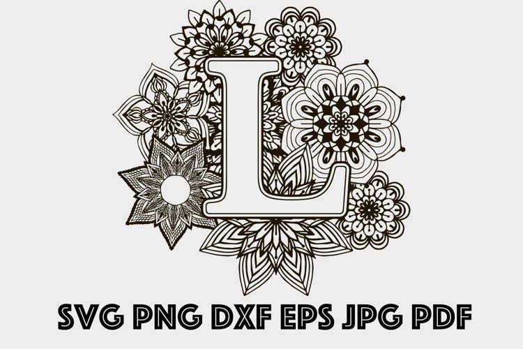 Letter L Mandala SVG, Alphabet Svg, Letters SVG, Mandala SVG