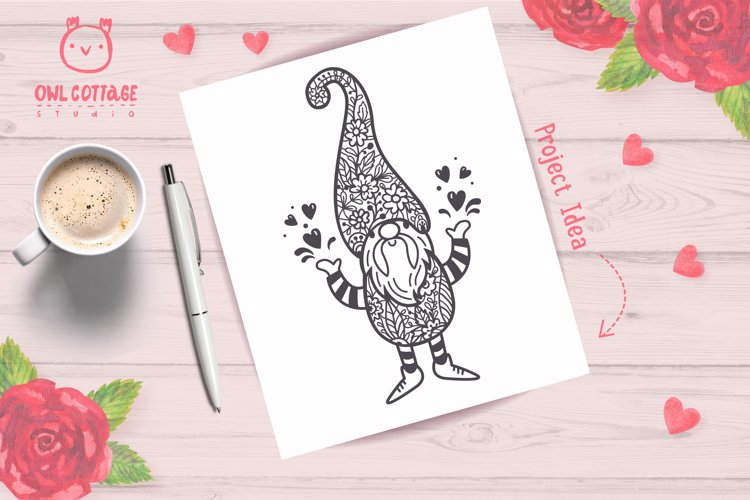 Valentine Gnomes svg , Valentine's Day Svg, Gnome with flor example 8