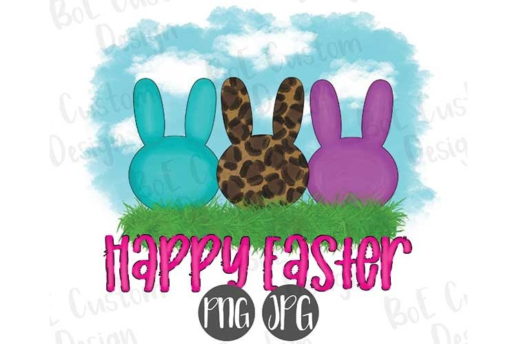 Happy Easter with Bunnies Sublimation Clipart example image 1