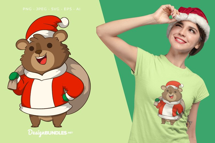 Santa Claus Grizzly With Sack Illustration For T-Shirt example image 1