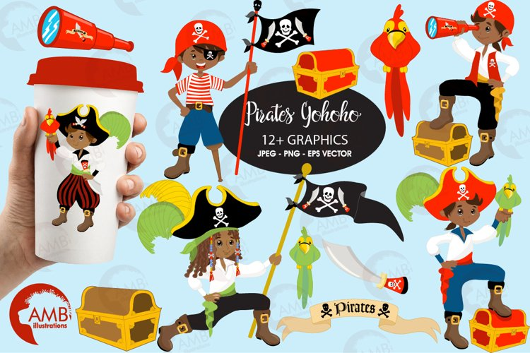 Pirate boys, African American Pirate clipart, graphics and illustrations AMB-174