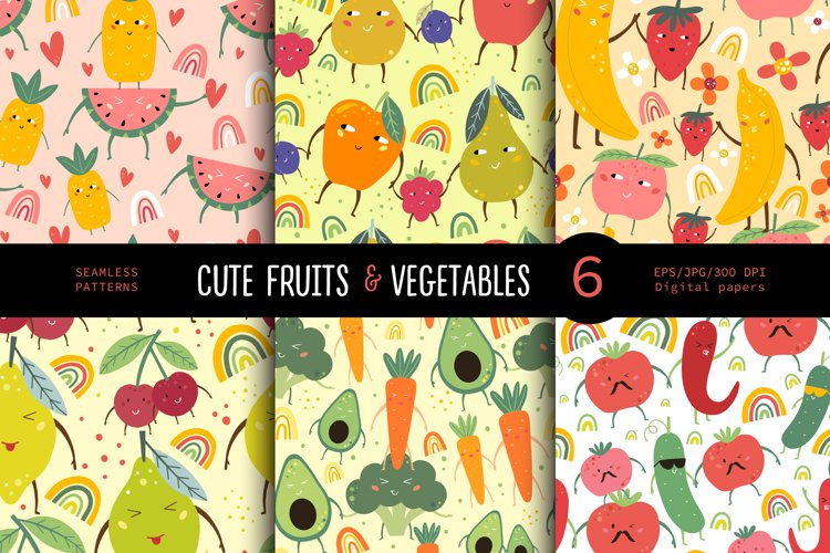 Funny fruits & vegetables, Seamless pattern. example image 1