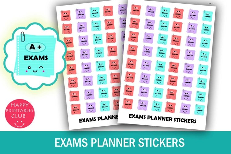 Exams Planner Stickers- Student Planner Stickers- Exam Icons example image 1