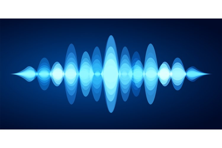 Abstract sound wave. Blue voice sounds waveform spectrum, mu example image 1