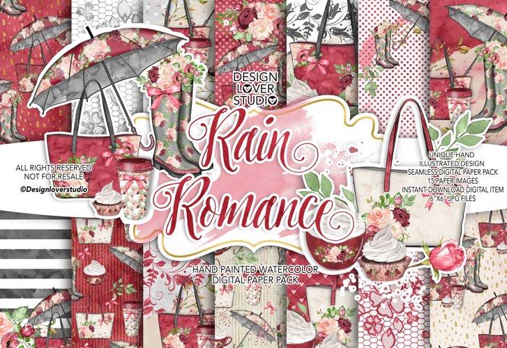 Rain Romance digital paper pack example image 1