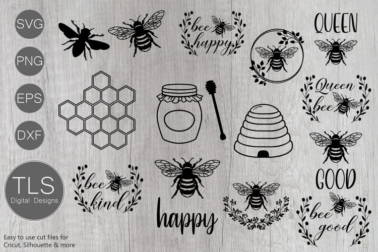 Bee SVG Bundle, Bumble bee SVG, Bees SVG, Bee SVG example image 1