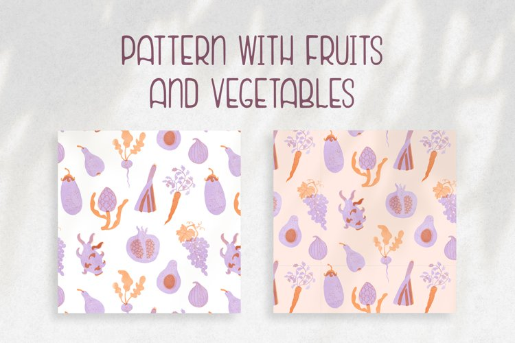 Pattern with fruits & vegetables example image 1