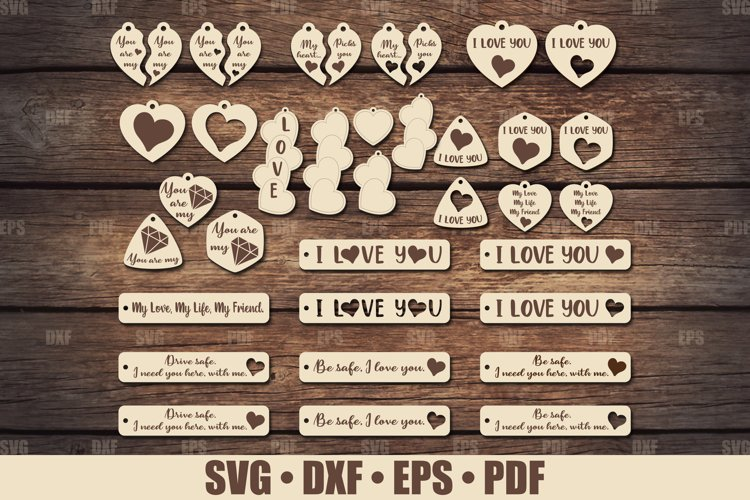 Love Keychains SVG Bundle Glowforge, Key Fob SVG design example image 1
