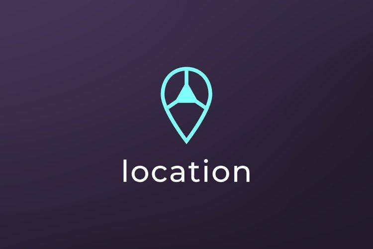 simple pin way direction location logo