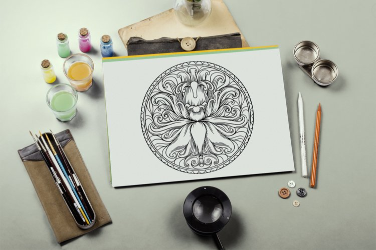 Coloring pages with animals and plantsin a round frame