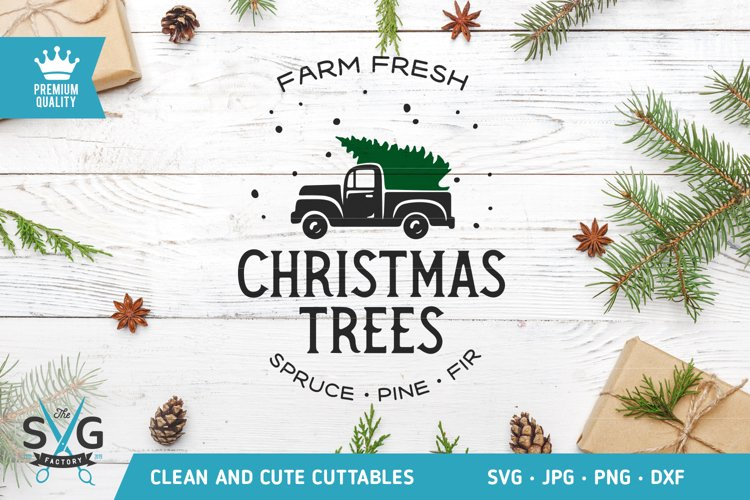 Christmas trees truck SVG cut file