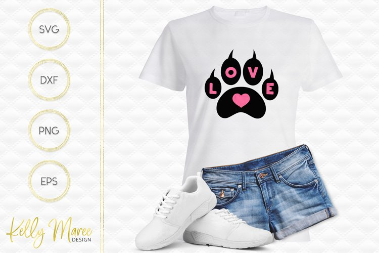 Love Heart Cat Paw SVG File
