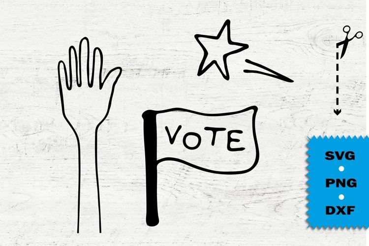 Vote svg, USA elections 2020 doodle style elements