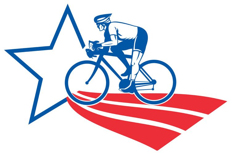 Cyclist riding racing bike star and stripes example image 1