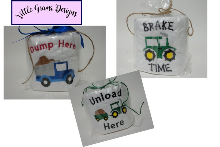Truck Tractor Dump Toilet Paper Embroidery Design example image 1