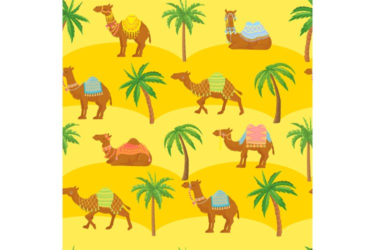Seamless camel pattern. Cute cartoon camels in desert among example image 1