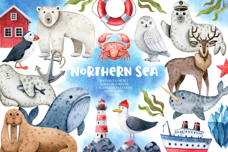 Northern Sea Watercolor Set example image 1