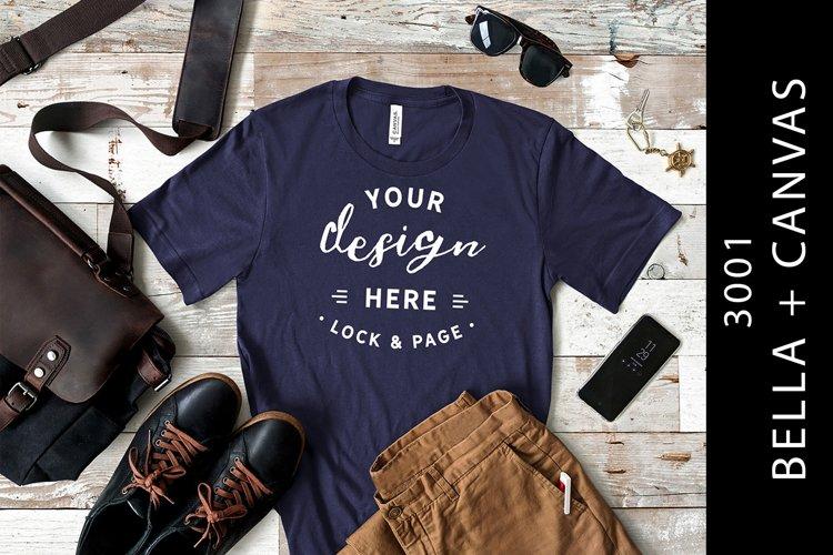 Men's Navy Bella Canvas 3001 T-Shirt Mockup Masculine Setup example image 1