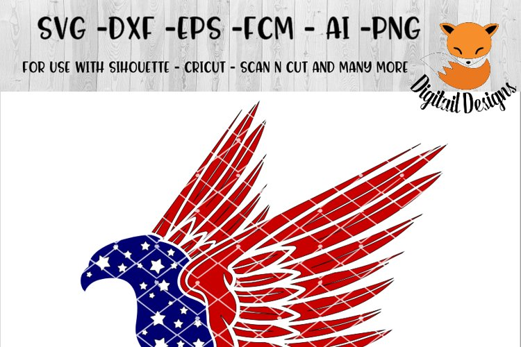 Patriotic Eagle SVG - png - eps - dxf - ai - fcm - Patriotic SVG - Silhouette - Cricut - Scan N Cut - Anchor SVG -  Stars and Stripes SVG example image 1