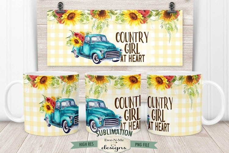 Country Girl Truck Mug Wrap Sublimation | 11 oz & 15 oz PNG