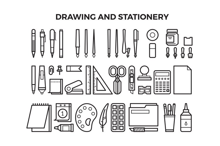 Office stationery and drawing tools line icons example image 1