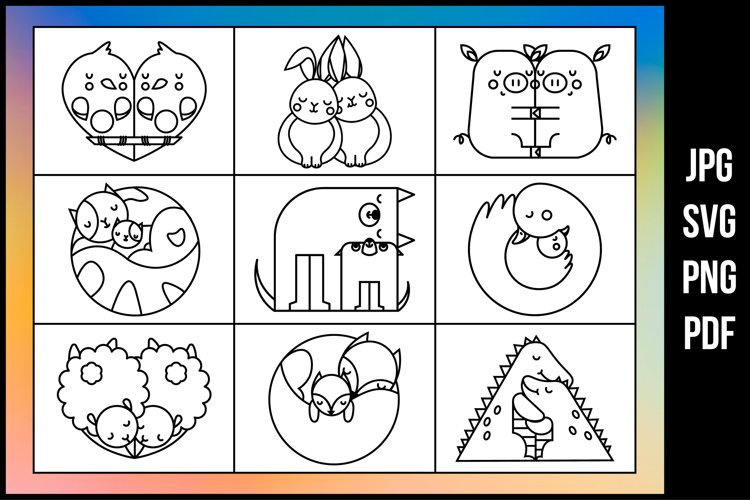 Cute hugging animals - Coloring pages example image 1
