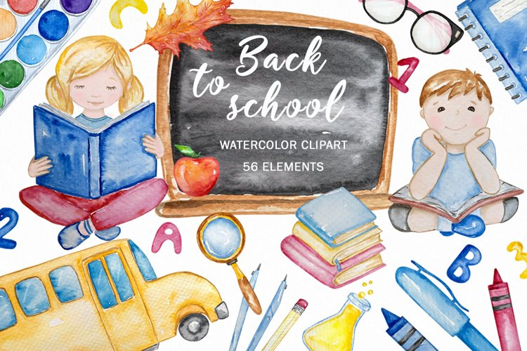 Back to School watercolor clipart example image 1