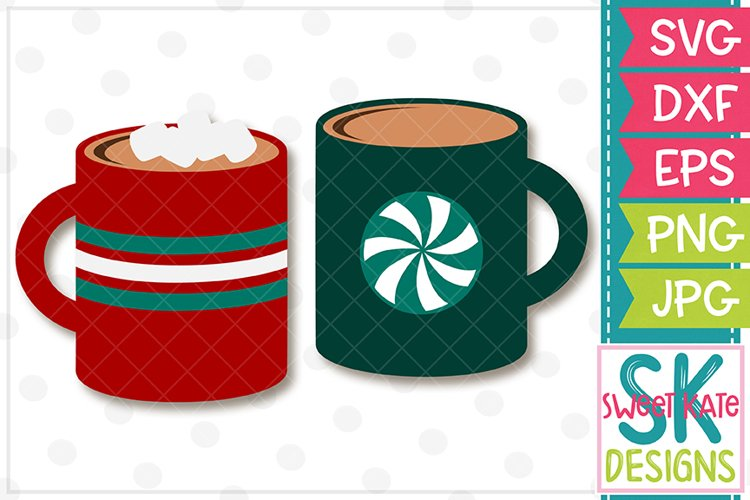 Hot Cocoa Mugs SVG DXF EPS PNG JPG example image 1