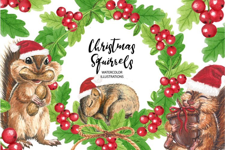 Christmas Squirrels Watercolor illustrations