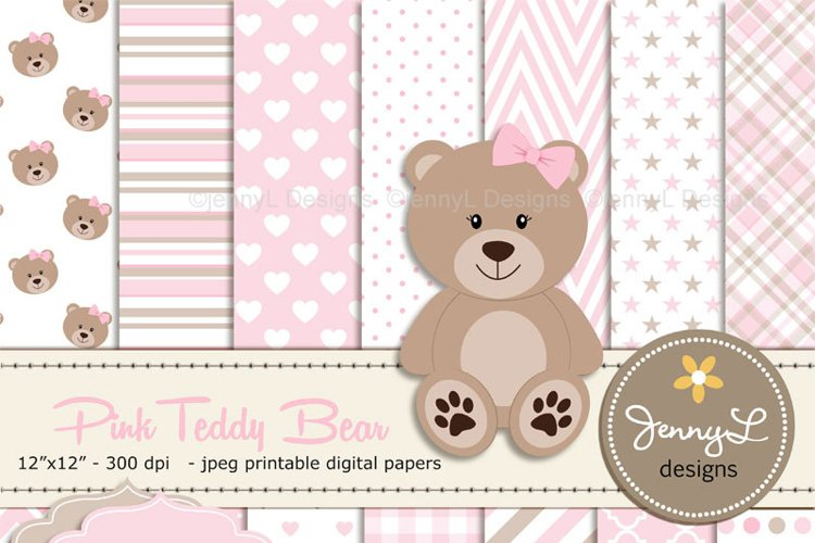 Girl Teddy Bear Digital papers and Clipart SET example image 1