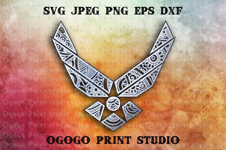 US Air Force Svg - 3D Layered Mandala SVG cut file 3 layers example image 1