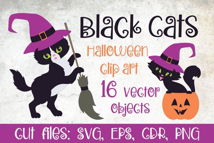 Black cats. Halloween clip art example
